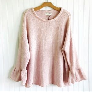Pale Pink Boho Sweater w/ Bell Sleeves